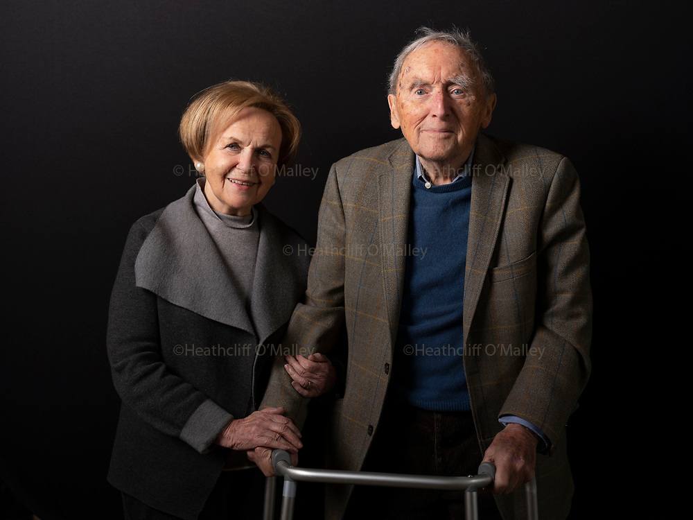 Mcc0093845 . Daily Telegraph <br /> <br /> Features<br /> <br /> Holocaust survivor Mala Tribich MBE photographed with former British soldier Nathaniel Fiennes, 21st Baron Saye and Sele at his ancestral home, Broughton Castle . Nat Fiennes served as an Officer in the Rifle Brigade in WWII and was part of the force that liberated Belsen Concentration Camp in April 1945 where Mala spent the last months of the war after being moved from Ravensbrück . Mala was too weak to get on her feet when the British forces arrived , malnourished and suffering from Typhus which was rampant in the camp and took months to recover . She moved to Britain in 1947 where she was reunited with her brother Ben , her only surviving family  .<br /> <br /> Banbury 13 February 2020