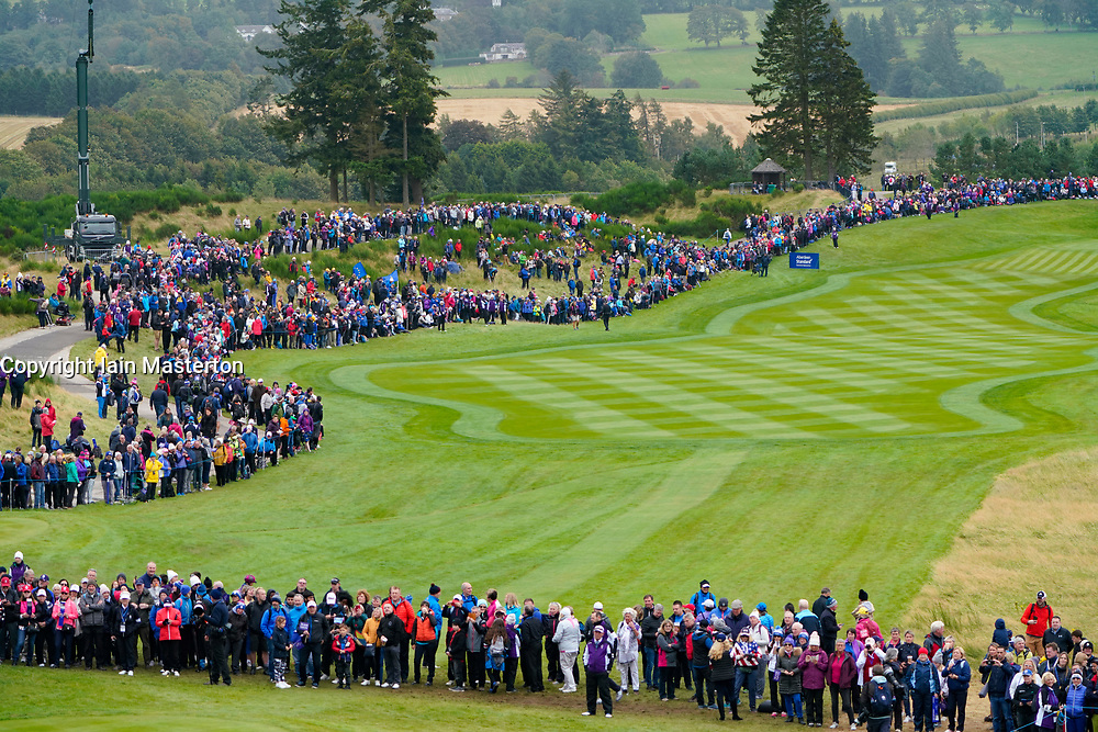 Solheim Cup 2019 at Centenary Course at Gleneagles in Scotland, UK. View of spectators along the 1st fairway on Sunday morning.