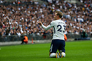 Christian Eriksen of Tottenham Hotspur appeals for a foul.<br /> Premier league match, Tottenham Hotspur v AFC Bournemouth at Wembley Stadium in London on Saturday 14th October 2017.<br /> pic by Kieran Clarke, Andrew Orchard sports photography.