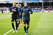 Portsmouth forward Brett Pitman warming up before the EFL Sky Bet League 1 match between Peterborough United and Portsmouth at London Road, Peterborough, England on 15 September 2018.