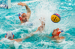 Eelco Wagenaar, Pascal Janssen, Jesse Nispeling  of the Netherlands in action against Romania during the Olympic qualifying tournament. The Dutch water polo players are on the hunt for a starting ticket for the Olympic Games on February 16, 2021 in Rotterdam