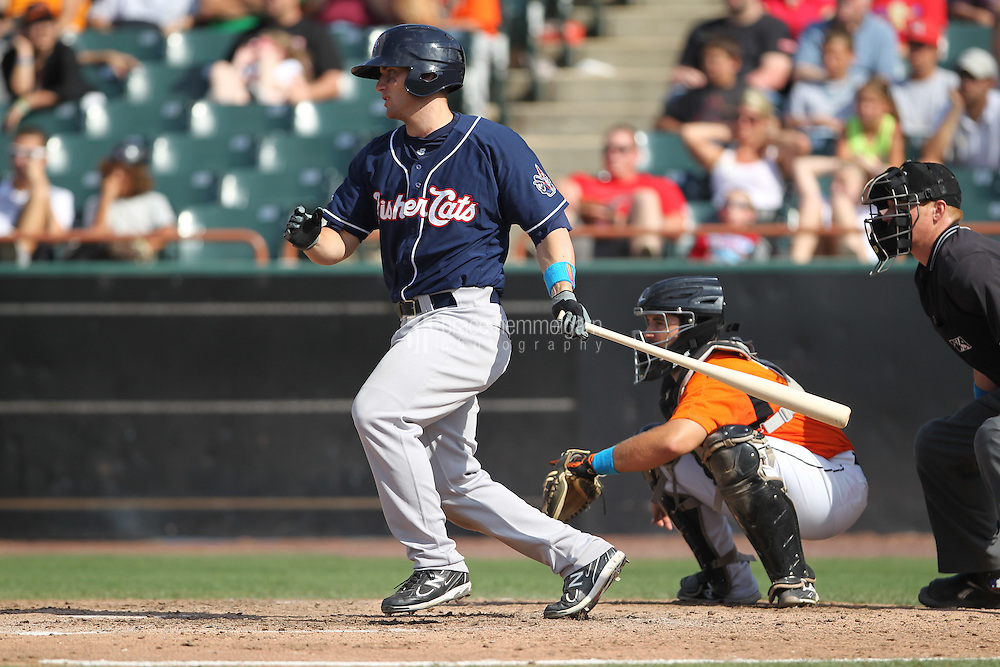 New Hampshire Fisher Cats third baseman Mark Sobolewski #14 bats during a game against the Bowie Baysox at Prince George's Stadium on June 17, 2012 in Bowie, Maryland. New Hampshire defeated Bowie 4-3 in 13 innings. (Brace Hemmelgarn)