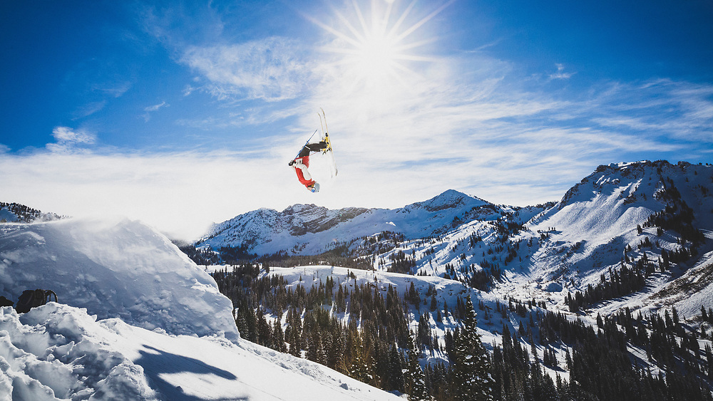 Air time. Austin Birrer lays out a double back, Alta, Utah.