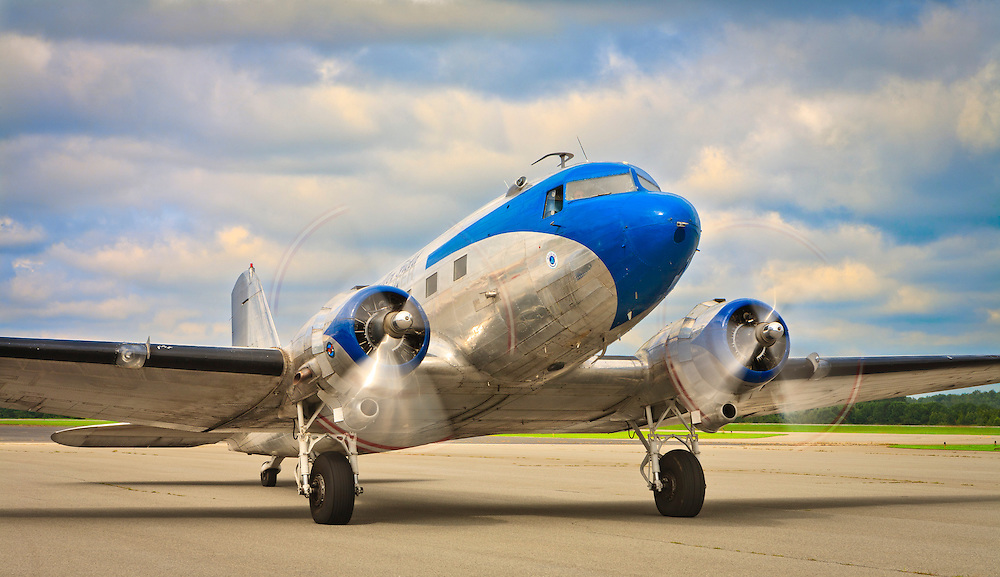 Ron Alexander's DC-3 on the ramp at Briscoe Field (LZU) in Lawrenceville, Ga.