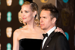 © Licensed to London News Pictures. 18/02/2018. LESLIE BIBB and SAM ROCKWELL arrives on the red carpet for the EE British Academy Film Awards 2018, held at the Royal Albert Hall, London, UK. Photo credit: Ray Tang/LNP