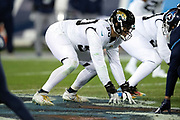 Jacksonville Jaguars rookie defensive tackle Taven Bryan (90) gets set in a four point stance during the week 14 regular season NFL football game against the Tennessee Titans on Thursday, Dec. 6, 2018 in Nashville, Tenn. The Titans won the game 30-9. (©Paul Anthony Spinelli)