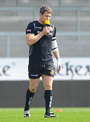 Exeter Braves players have a drink a  to stay hydrated - Mandatory by-line: Nizaam Jones/JMP - 22/04/2019 - RUGBY - Sandy Park Stadium - Exeter, England - Exeter Braves v Saracens Storm - Premiership Rugby Shield