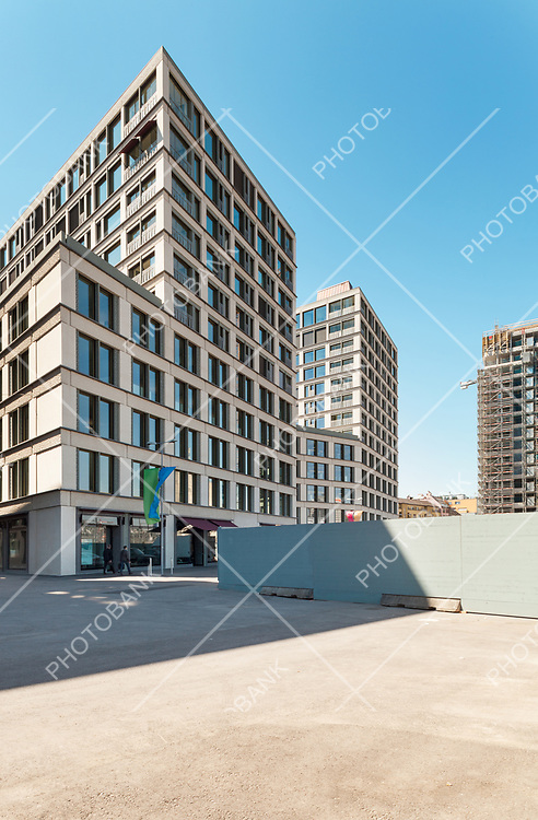 Modern building, outdoor, view from the square