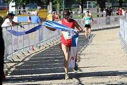 30.06.2015, Olympiapark Berlin, Berlin, GER, moderner Fünfkampf WM, Staffelbewerb Damen, im Bild Eine ueberglueckliche Qian Chen beim Zieleinlauf // during Women's relay race of the the world championship of Modern Pentathlon at the Olympiapark Berlin in Berlin, Germany on 2015/06/30. EXPA Pictures © 2015, PhotoCredit: EXPA/ Eibner-Pressefoto/ Hundt<br /> <br /> *****ATTENTION - OUT of GER*****