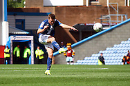 Stephen Gleeson of Birmingham City shoots at goal but sees his effort saved. Skybet football league championship match, Burnley  v Birmingham City at Turf Moor in Burnley, Lancs on Saturday 15th August 2015.<br /> pic by Chris Stading, Andrew Orchard sports photography.