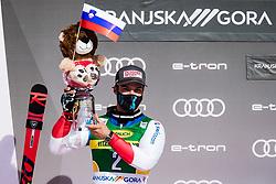 Meillard Loic (AUT) during trophy ceremony at the Audi FIS Alpine Ski World Cup Men's Giant Slalom at 60th Vitranc Cup 2021 on March 13, 2021 in Podkoren, Kranjska Gora, Slovenia Photo by Grega Valancic / Sportida