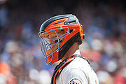 San Francisco Giants catcher Nick Hundley (5) waits for a pitch against the Los Angeles Dodgers at AT&T Park in San Francisco, California, on April 27, 2017. (Stan Olszewski/Special to S.F. Examiner)