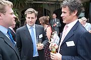 ALEXANDER LESCHALLAS; HENRY SMITH; ANDREW EVERALL, Archant Summer party. Kensington Roof Gardens. London. 7 July 2010. -DO NOT ARCHIVE-© Copyright Photograph by Dafydd Jones. 248 Clapham Rd. London SW9 0PZ. Tel 0207 820 0771. www.dafjones.com.