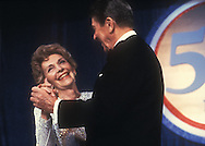 .Nancy Reagan dances with her husband in May 1987..Photograph by Dennis Brack BS B14