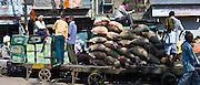 Porters at Khari Baoli spice and dried foods market, Old Delhi, India
