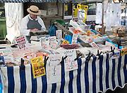 Fishmonger market stall, Devizes, Wiltshire, England, UK