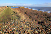 Shingle bay bar and lagoon formed by longshore drift, view north Bawdsey to Shingle Street, Suffolk, England, UK