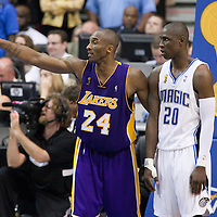 11 June 2009: Kobe Bryant of the Los Angeles Lakers is seen next to Mickael Pietrus of the Orlando Magic during game 4 of the 2009 NBA Finals won 99-91 by the Los Angeles Lakers over the Orlando Magic at Amway Arena, in Orlando, Florida, USA.