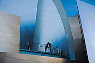 A couple kissing at the Walt Disney Concert Hall in downtown Los Angeles..