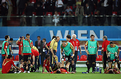 Spanish team rests after the second halftime in the UEFA EURO 2008 Quarter-Final soccer match between Spain and Italy at Ernst-Happel Stadium, on June 22,2008, in Wien, Austria. Spain won after penalty shots 4:2. (Photo by Vid Ponikvar / Sportal Images)