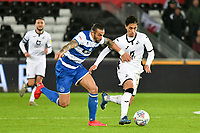 Football - 2019 / 2020 Sky Bet (EFL) Championship - Swansea City vs. Queens Park Rangers<br /> <br /> Yan Dhanda of Swansea City on the attack challenged by Yoann Barbet of QPR, at The Liberty Stadium.<br /> <br /> COLORSPORT/WINSTON BYNORTH