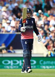 England's Joe Root celebrates reaching 50 during the ICC Champions Trophy, Group A match at The Oval, London.