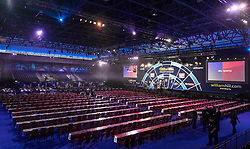 General view of venue during day one of the William Hill World Darts Championship at Alexandra Palace, London. PRESS ASSOCIATION Photo. Picture date: Thursday December 14, 2017. See PA story DARTS World. Photo credit should read: Steven Paston/PA Wire. RESTRICTIONS: Use subject to restrictions. Editorial use only. No commercial use. Call +44 (0)1158 447447 for further information.