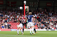 Brentford's John Egan (c) scores his team's first goal. EFL Skybet football league championship match, Brentford  v Nottingham Forest at Griffin Park in London on Saturday 12th August 2017.<br /> pic by Steffan Bowen, Andrew Orchard sports photography.