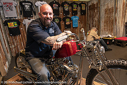 Brian Buttera with his custom Harley-Davidson Shovelhead that won him this trip to the Swiss-Moto show when he won the Rat's Hole Show in Sturgis last summer. The icing on the cake was that he won Best of Show at this Swiss Moto, which won him another trip, this time to the upcoming Custom Show Emirates in Abu Dhabi. (and Brian just got his first passport ever!) Photographed at the Swiss-Moto Customizing and Tuning Show. Zurich, Switzerland. Friday, February 22, 2019. Photography ©2019 Michael Lichter.