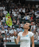 Tennis - 2019 Wimbledon Championships - Week One, Wednesday (Day Three)<br /> <br /> Women's singles, 2nd Round: Cori Gauff (USA) v Magdalena Rybarikova (SVK)<br /> <br /> Magdalena Rybarikova throws her racket in the air in frustration on Court 1<br /> <br /> COLORSPORT/ANDREW COWIE