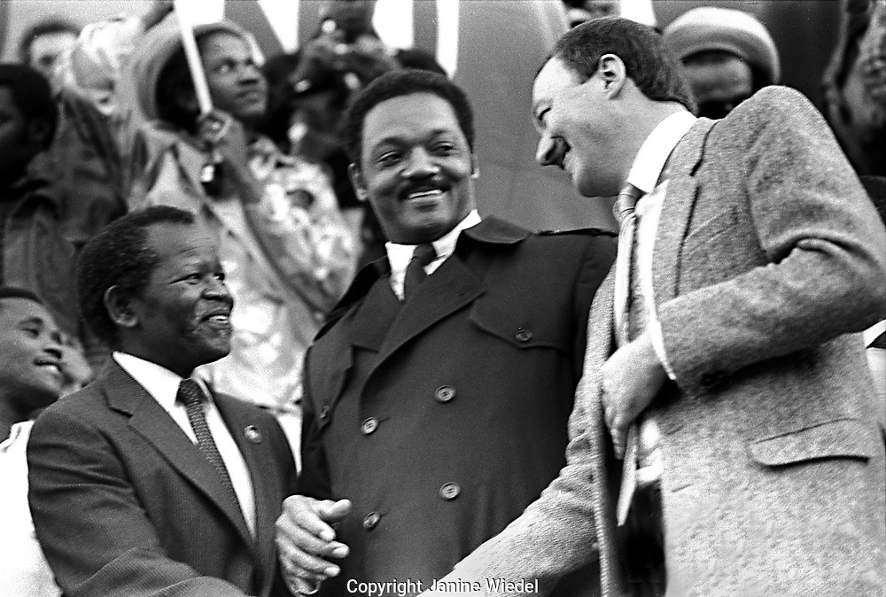 Oliver Tombo Jesse Jackson and Ken Livingstone at largest Anti Apartheid and free Mandela Rally in Trafalgar Square Nov 1st 1985, at least 35,000 people took part