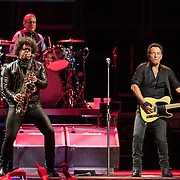 WASHINGTON, DC - January 29th, 2016 - Max Weinberg, Jake Clemons and Bruce Springsteen perform at the Verizon Center during Springsteen's The River 2016 Tour. Springsteen and the E Street Band are performing the seminal 1980 album in full on the tour. (Photo by Kyle Gustafson / For The Washington Post)