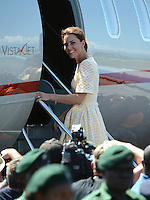 The Duke and Duchess of Cambridge depart from Honiara Airport, Solomon Islands for Tuvalu and the final stop on their Diamond Jubilee Tour of South East Asia, on the 16th September 2012<br /> <br /> PICTURE BY JAMES WHATLING