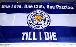 """A Leicester City One Love, One Club, One Passion Till i Die flag in the stands during the Premier League match at the King Power Stadium, Leicester. PRESS ASSOCIATION Photo. Picture date: Saturday November 18, 2017. See PA story SOCCER Leicester. Photo credit should read: Mike Egerton/PA Wire. RESTRICTIONS: EDITORIAL USE ONLY No use with unauthorised audio, video, data, fixture lists, club/league logos or """"live"""" services. Online in-match use limited to 75 images, no video emulation. No use in betting, games or single club/league/player publications."""