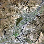Lhasa is the traditional seat of the Dalai Lama and the capital of the Tibet Autonomous Region in the Peoples Republic of China. Satellite image.