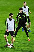 Spanish National Team's  training at Ciudad del Futbol stadium in Las Rozas, Madrid, Spain. In the pic: Cesc Fabregas, Morata and Mario Suarez. March 25, 2015. (ALTERPHOTOS/Luis Fernandez)