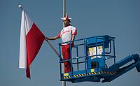 07.06.2012 wies Zoltki przy trasie S8 woj podlaskie N/z manekin w barwach narodowych na podnosniku reklamujacym firme fot Michal Kosc / AGENCJA WSCHOD