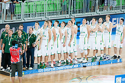 Winning team of Lithuania during Trophy ceremony after the basketball match between National teams of Lithuania and France in final match of U20 Men European Championship Slovenia 2012, on July 22, 2012 in SRC Stozice, Ljubljana, Slovenia. Lithuania defeated France 50-49 and became European Champion 2012. (Photo by Vid Ponikvar / Sportida.com)