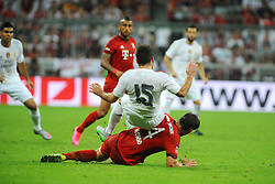 05.08.2015, Allianz Arena, Muenchen, GER, AUDI CUP, FC Bayern Muenchen vs Real Madrid, im Bild Xabi Alonso (FC Bayern Muenchen) foult Daniel Carvajal (Real Madrid) und erhaelt dafuer die gelbe Karte. // during the 2015 Audi Cup Match between FC Bayern Munich and Real Madrid at the Allianz Arena in Muenchen, Germany on 2015/08/05. EXPA Pictures © 2015, PhotoCredit: EXPA/ Eibner-Pressefoto/ Stuetzle<br /> <br /> *****ATTENTION - OUT of GER*****