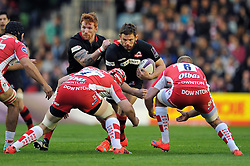 Ross Ford of Edinburgh Rugby takes on the Gloucester defence - Photo mandatory by-line: Patrick Khachfe/JMP - Mobile: 07966 386802 01/05/2015 - SPORT - RUGBY UNION - London - The Twickenham Stoop - Edinburgh Rugby v Gloucester Rugby - European Rugby Challenge Cup Final