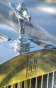 Vintage Rolls Royce car. Close up on the emblem and logo