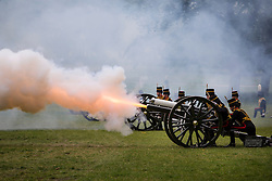 © licensed to London News Pictures. London, UK 10/06/2013. The King's Troop Royal Horse Artillery firing a 41 gun salute from Green Park in honour of the Duke of Edinburgh's 92nd birthday. Photo credit: Tolga Akmen/LNP