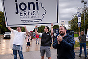 28 SEPTEMBER 2020 - JOHNSTON, IOWA: before the US Senate debate at the Iowa PBS studios in Johnston. Both US Senator Joni Ernst, the Republican incumbent, and Theresa Greenfield, the Democratic challenger, had rallies before the debate. Polling puts the race within the margin of error.     PHOTO BY JACK KURTZ