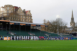 Both teams line up for a minute silence prior to kic-off in memory of Cecil Duckworth - Mandatory byline: Patrick Khachfe/JMP - 07966 386802 - 21/11/2020 - RUGBY UNION - The Recreation Ground - Bath, England - Bath Rugby v Newcastle Falcons - Gallagher Premiership