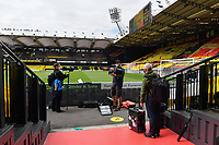 Football - 2019 / 2020 Premier League - Watford vs. Leicester City<br /> <br /> Photographers waiting for their positions pitchside, at Vicarage Road.<br /> <br /> COLORSPORT/ASHLEY WESTERN