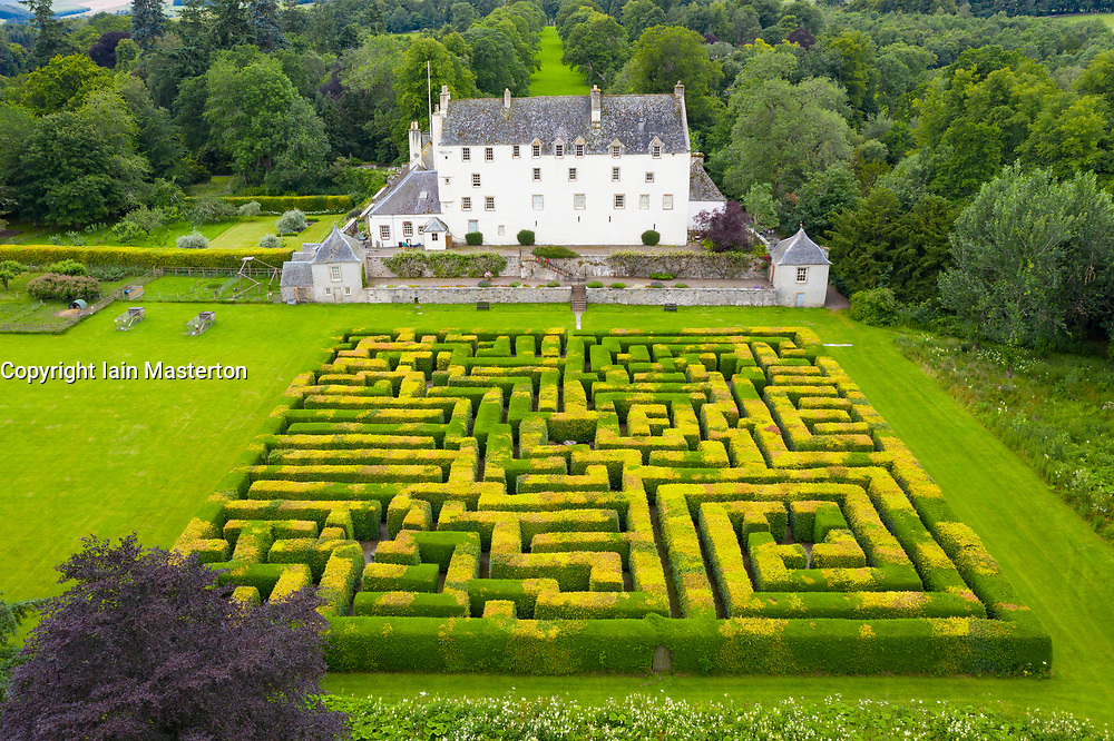 Innerleithen, Scotland, UK. 14 July, 2020, Aerial view of maze at Traquair House in the Scottish Borders, the oldest inhabited house in Scotland. The house is preparing to reopen to the public on Friday. Access to the maze will be limited to one household at a time. Iain Masterton/Alamy Live News