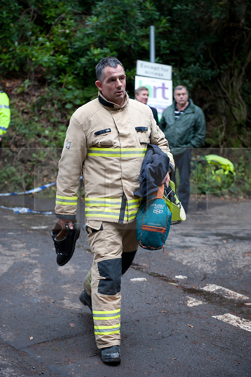 © licensed to London News Pictures  16/09/2011 .  Pontardawe,UK. Activity at the scene of an  operation  to rescue 3  miners trapped in a mine in the Swansea Valley. Photo credit :Aled Llywelyn/LNP