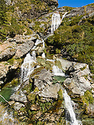 Routeburn Falls, on the Track, in Mount Aspiring National Park, South Island, New Zealand. In 1990, UNESCO honored Te Wahipounamu - South West New Zealand as a World Heritage Area.