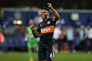Jamaal Lascelles, the Newcastle United captain celebrates towards the Newcastle United fans after full time. EFL Skybet football league championship match, Queens Park Rangers v Newcastle Utd at Loftus Road Stadium in London on Tuesday 13th September 2016.<br /> pic by John Patrick Fletcher, Andrew Orchard sports photography.