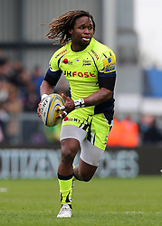Sale Sharks' Marland Yarde brings the ball forward during the Aviva Premiership match at Sandy Park, Exeter. PRESS ASSOCIATION Photo. Picture date: Saturday April 28, 2018. See PA story RUGBYU Exeter. Photo credit should read: Mark Kerton/PA Wire. RESTRICTIONS: Editorial use only. No commercial use.